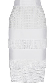 Fringed broderie anglaise-paneled cotton skirt
