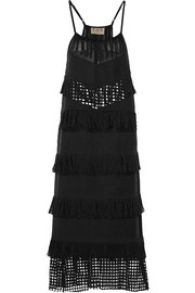 SEA Fringed broderie anglaise-paneled cotton midi dress