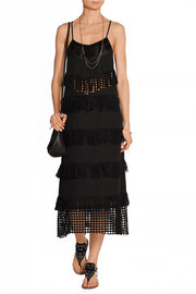 Fringed broderie anglaise-paneled cotton midi dress