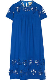 Cutout embroidered cotton-voile dress
