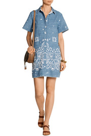 Embroidered denim mini dress