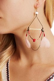 Gold-plated, bone, coral, shell and feather earrings