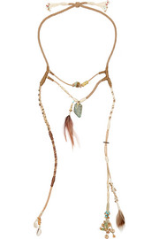 Suede, feather and shell necklace