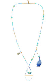 Turquoise, bone and feather necklace