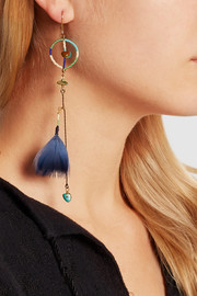 Gold-plated, turquoise, bone, feather and cotton earrings
