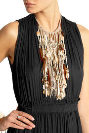 Suede, bone, feather and bead necklace