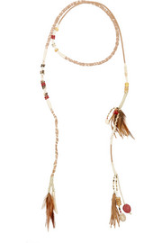Suede, bone, feather and bead wrap necklace
