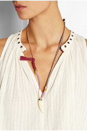 Leather, cotton and bone necklace