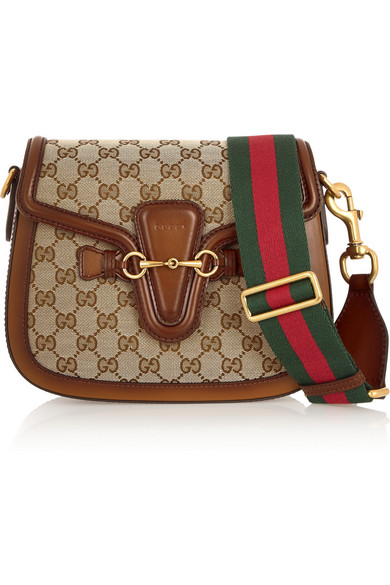 b2fe55eda99f Gucci | Lady Web medium leather-trimmed canvas shoulder bag | NET-A ...