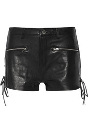 BLK DNM Lace-up leather shorts