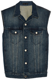 Faux suede-fringed denim vest