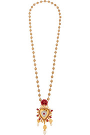 Sacro Cuore gold and silver-plated, Swarovski crystal and faux pearl necklace