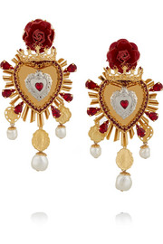 Sacro Cuore gold and silver-plated, Swarovski crystal and faux pearl clip earrings