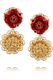 Sacro Cuore gold-plated and patent-leather clip earrings