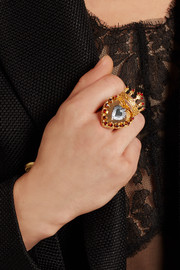 Sacro Cuore gold and silver-plated Swarovski crystal ring