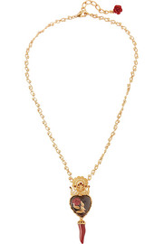 Dolce & Gabbana Cuore Rose gold-plated, Swarovski crystal and resin necklace