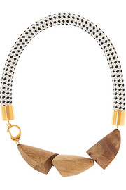 Gold-plated, wood and rope necklace
