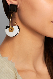 Gold-plated, horn and resin clip earrings
