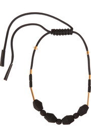 Marni Gold-tone, rope and wood necklace
