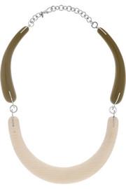 Marni Resin, wood and silver-tone necklace