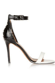 Nadia sandals in white and black leather