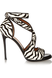 Nilenia sandals in zebra-print calf hair with leather trim