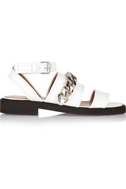 Natalia chain-trimmed sandals in white leather