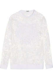 Tiger embroidered organza sweatshirt