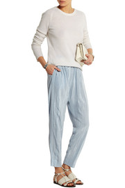 Striped silk-crepe tapered pants