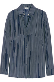 Striped silk-crepe shirt