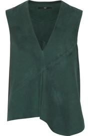 Asymmetric suede top