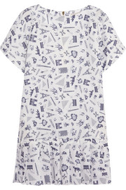 Map printed cotton mini dress