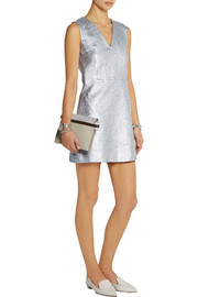 Metallic cotton-blend cloqué mini dress