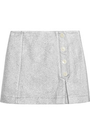 Metallic cotton-blend cloqué mini skirt