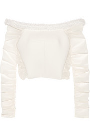 Bead-embellished mesh-paneled basketweave crepe top