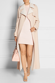Basketweave crepe trench coat