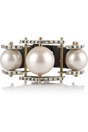 Lanvin Silver-tone, faux pearl, Swarovski crystal and leather bracelet