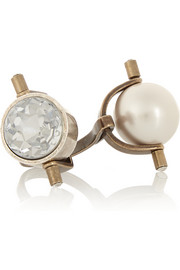 Lanvin Gold and silver-tone crystal and faux pearl ring