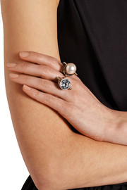 Gold and silver-tone crystal and faux pearl ring