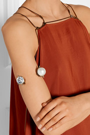 Silver-tone, Swarovski crystal and faux pearl arm cuff