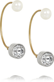 Lanvin Silver and gold-tone crystal earrings