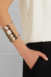 Faux pearl and Swarovski crystal silver and burnished gold-tone cuff