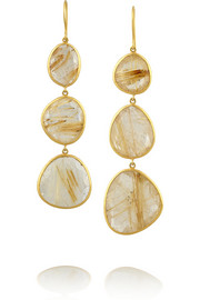 18-karat gold quartz earrings