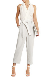 Silk crepe de chine and waffle-knit cotton jumpsuit