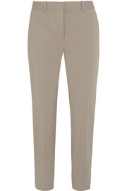 Pencil cropped stretch cotton-blend straight-leg pants