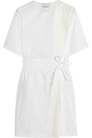 Silk crepe-paneled cotton-blend poplin mini dress