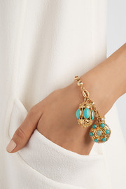 Fred Leighton 1960s 18-karat gold and turquoise charm bracelet