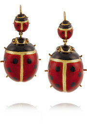 Fred Leighton 1880s 18-karat gold enameled earrings