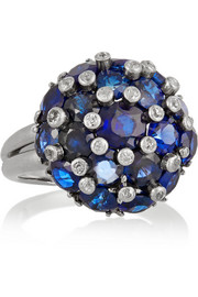 Fred Leighton 1940s platinum, sapphire and diamond ring