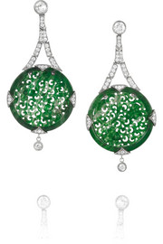 Collection 18-karat white gold, jade and diamond earrings
